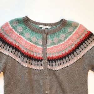 Women's Boden Fair Isle Cardigan Sweater - Size 12